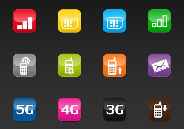 Mobiele verbindingsvectorpictogrammen voor gebruikersinterfaceontwerp