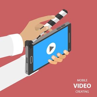 Mobiele video die plat isometrisch maakt.
