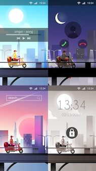 Mobiele wallpaper moderne stad levering koerier fiets vlakke stijl