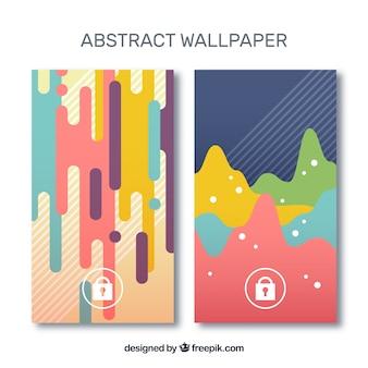 Mobiele wallpapers met abstracte vormen in plat ontwerp