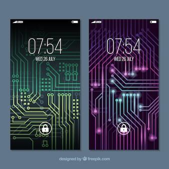 Mobiele wallpapers met lichtstroomcircuit