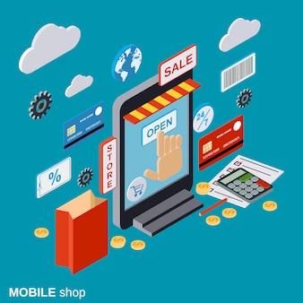 Mobiele winkel plat isometrische vector concept