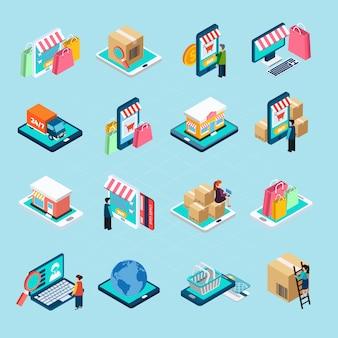 Mobiele winkelen isometrische icons set