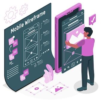 Mobiele wireframe concept illustratie