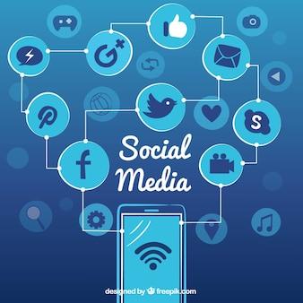 Mobile achtergrond met cirkels en social networking pictogrammen