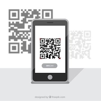 Mobile achtergrond met qr-code