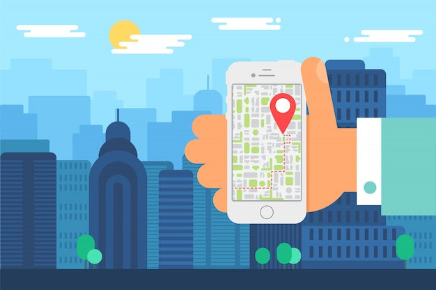 Mobile city navigatie. illustratie van de dagelijkse stad, menselijke hand met telefoon met kaart app. smartphone-scherm met kaartaanwijzer. vector