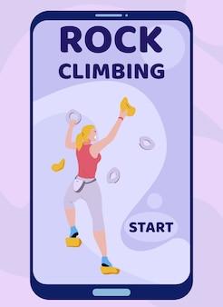 Mobile landing page advertising rock climbing