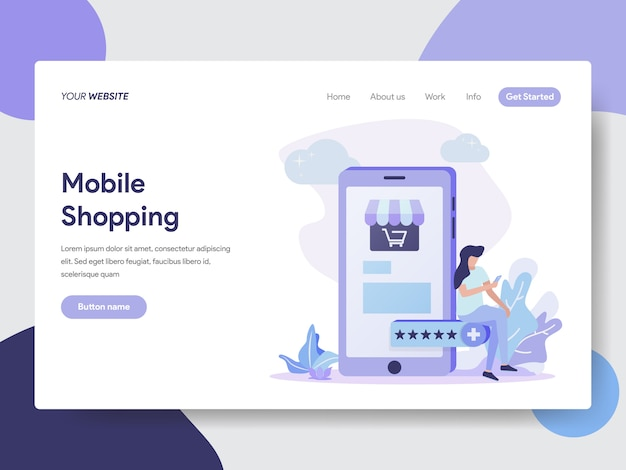 Mobile shopping-illustratie voor web-pagina