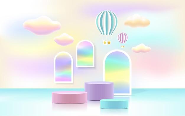 Mobile3d-productpodium, pastelkleurige achtergrond, wolken, weer met lege ruimte voor kinderen of babyproduct.