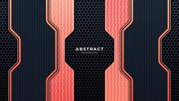 Mobileabstract metallic geperforeerde technische achtergrond met oranje lijnen. zwart frame lay-out moderne tech ontwerpsjabloon. trendy gradiënt vormen samenstelling. eps-10 vector