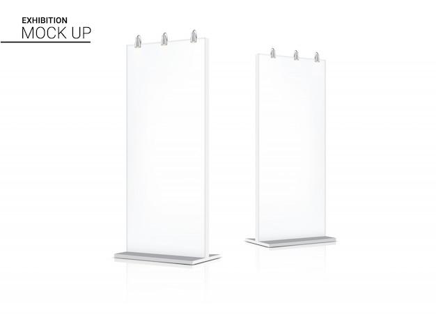 Mock up realistische roll-up bannerkiosk 3d pop-stand weergeven voor verkoop marketingbevordering met spotlight-achtergrondillustratie. evenementententoonstelling conceptontwerp.