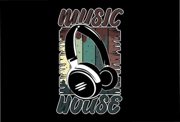 Mock up t-shirt muziekhuis retro vintage stijl