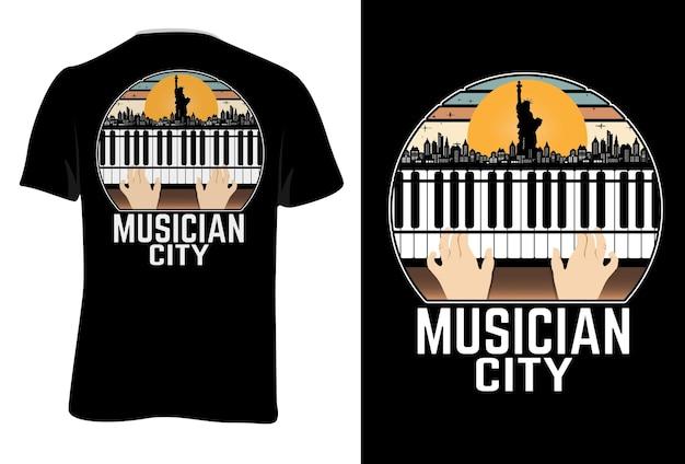 Mock up t-shirt muzikant stad retro vintage stijl