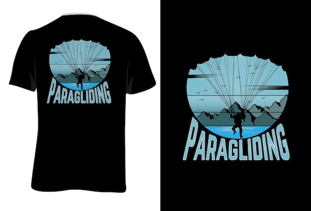 Mock-up t-shirt paragliden retro vintage stijl