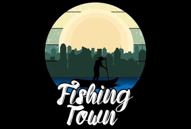 Mock up t-shirt vissersstad retro vintage stijl