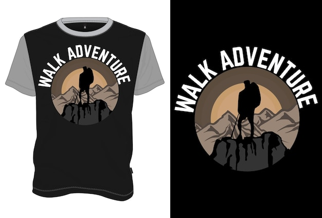 Mock-up t-shirt walk adventure retro vintage-stijl