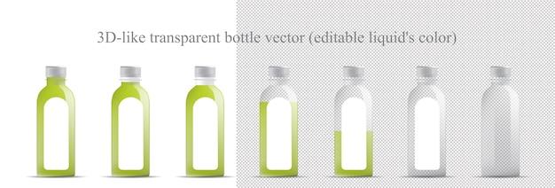 Mock-up van transparante fles (glas, plastic)