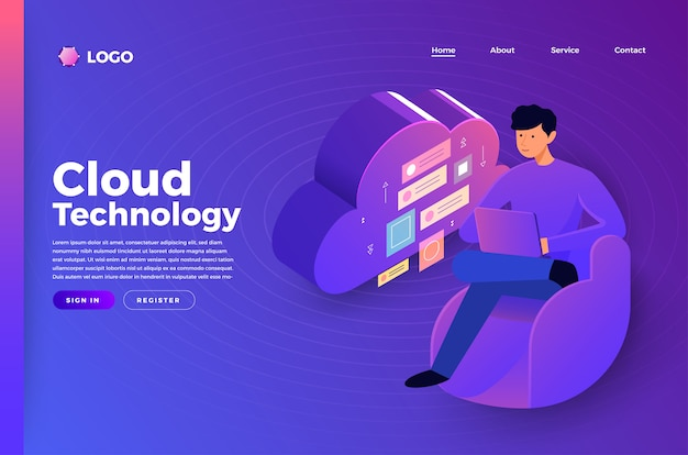 Mock-up website bestemmingspagina concept mensen die technologie verbinden. illustreren.