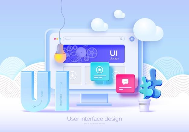 Mockup 3d-monitor met gebruikersinterface-elementen voor webdesign software maker gebruikersinterface gebruikerservaring ontwerp een set tools voor het maken van ui ux webontwikkeling vector illustratie 3d-stijl Premium Vector
