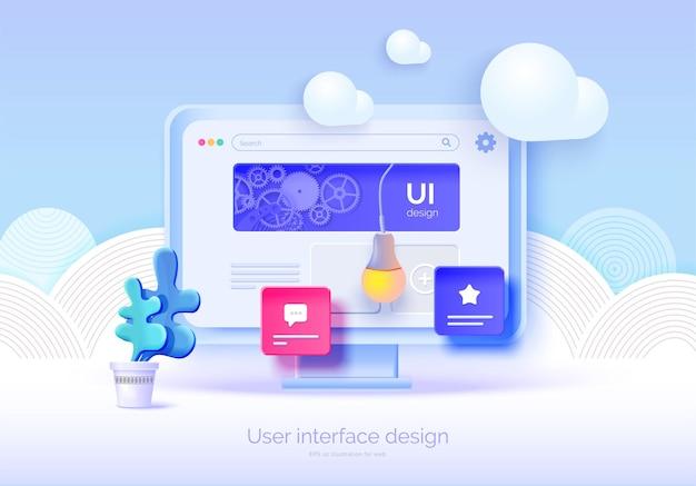 Mockup 3d-monitor met gebruikersinterface-elementen voor webdesign software maker