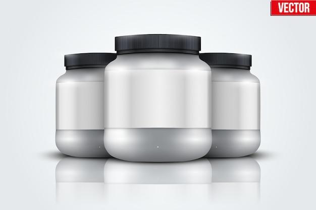 Mockup achtergrond van sport nutrition container. wei-eiwit en gainer.