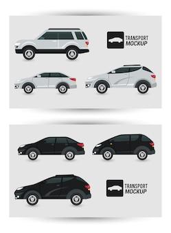 Mockup auto's kleuren zwart en wit geïsoleerd.