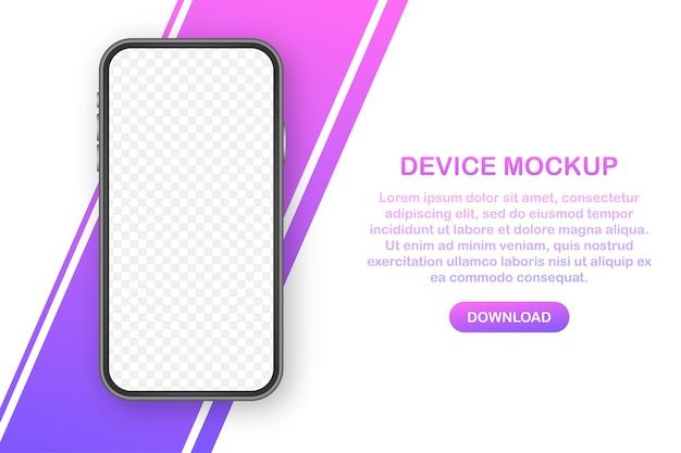 Mockup-banner van het apparaat. smartphone ui ux-ontwerpinterface. leeg scherm voor promotie van media-verkoop.