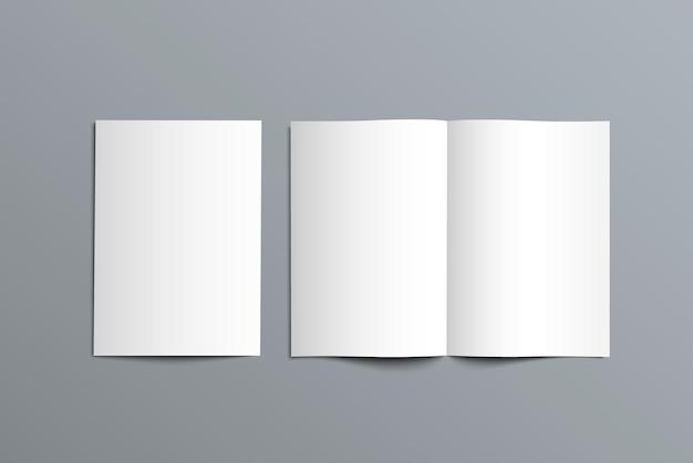 Mockup bi-fold catalogus voor de presentatie van het ontwerp. sjabloon van open en gesloten brochure geïsoleerd op de achtergrond.