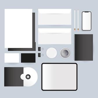 Mockup cd-tablet enveloppen en smartphone-ontwerp van huisstijlsjabloon en brandingsthema
