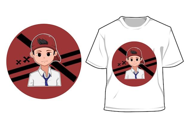 Mockup jongen met hoed ga naar school cartoon afbeelding