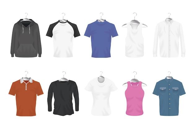 Mockup kleding pictogram bundel ontwerp van doek huisstijl slijtage en winkelen thema vectorillustratie