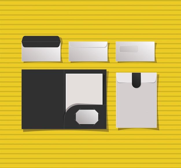 Mockup-map en enveloppen