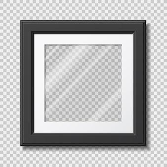 Mockup modern frame voor foto of afbeeldingen met transparant glas