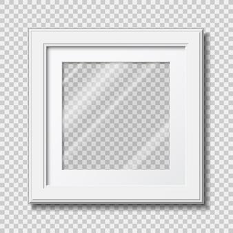 Mockup modern houten frame voor foto of afbeeldingen met transparant glas
