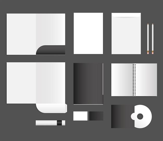 Mockup notebook bestanden cd en enveloppen ontwerp van huisstijl sjabloon en branding thema