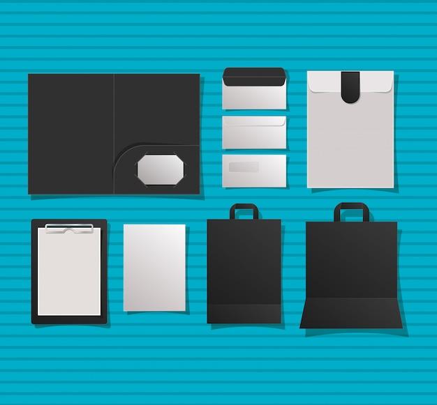 Mockup notitieboekomslag enveloppen en tassen