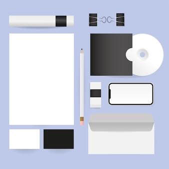 Mockup papier potlood cd en envelop ontwerp van huisstijl sjabloon en branding thema