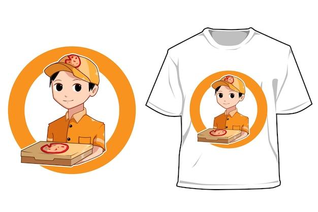 Mockup pizza jongen