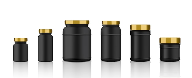 Mockup realistic black, gold plastic packaging