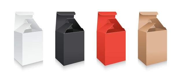 Mockup realistische geschenkdoos 3d-model set kartonnen witte, zwarte en rode verpakkingscollectie