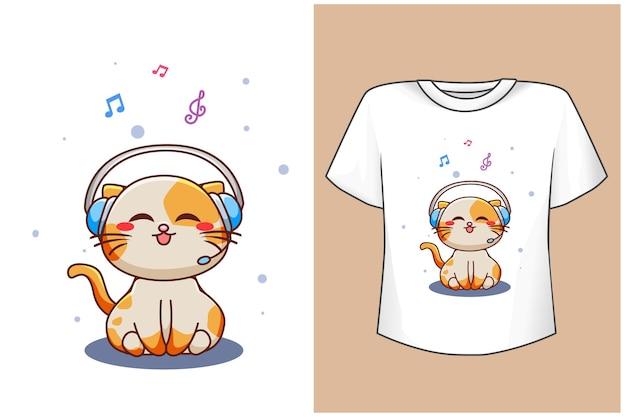 Mockup schattige kat met muziek