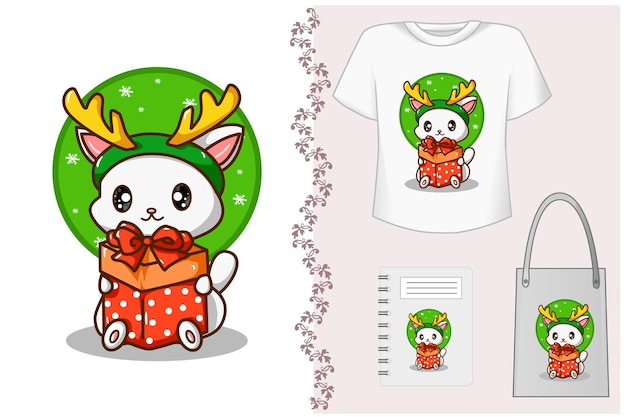 Mockup-set, kat die een kerstcadeau draagt en een hoofdband van rendierhoorn draagt