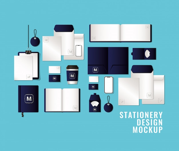 Mockup-set met donkerblauwe branding