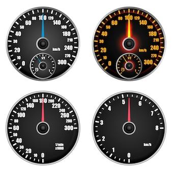 Mockup-set snelheidsmeter-niveau-indicator