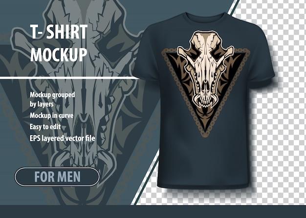Mockup sjabloon voor afdrukken, jakhals schedel. layout vector als een aanbieding afdrukken op t-shirts.