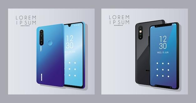 Mockup smartphones-apparaten.