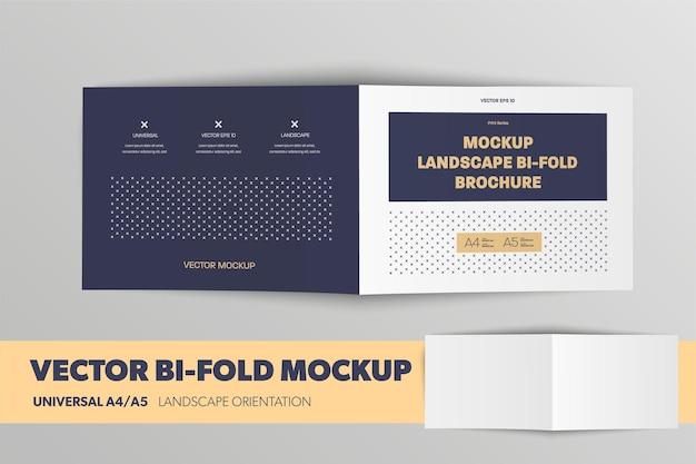 Mockup standaard liggende brochure universeel a4 a5 dubbelgevouwen met realistische schaduwen