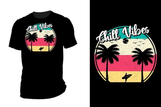 Mockup t-shirt silhouet chill vibes retro vintage