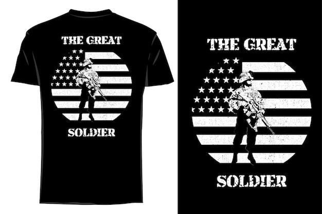 Mockup t-shirt silhouet de grote soldaat retro vintage